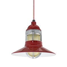 Wallaby Industrial Pendant, Red with Guard, Honey Crackle Glass, CRZ-Red Chevron Cord Ceiling Light Fixtures, Ceiling Pendant, Pendant Lighting, Ceiling Lights, Nautical Lighting, Beach Lighting, Accent Lighting, Barn Light Electric, Crackle Glass
