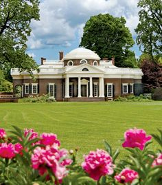 Jefferson's Monticello with pink peonies in the foreground
