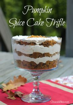 Impressive & easy Pumpkin Spice Cake recipe, with a white chocolate whipped topping and layered in a trifle bowl | ChaosIsBliss.com