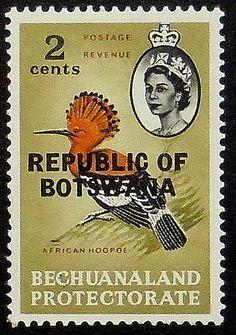 Africian Upupa uccello Botswana-fatti a mano con cornice del francobollo arte 11450