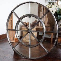 Rare Circular Cast Iron Window Frame Mirror Rare-Antique-architectural-Cast-Iron-Metal-Circular-Window-Mirror [C/14] : Aldgate Home Ltd
