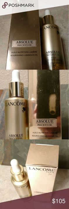 LANCOME Absolue Precious Oil Nourishing Luminous LANCOME Absolue Precious Oil Nourishing Luminous Oil 30ml /1oz (Retail $185) NEW ?100% Authentic product from Lanc?me, guaranteed.  ?Brand new, never used or tested.  ?Super Fresh, Expired Date: December 2017. ?Full Size, Total: 1 oz / 30 ml? ?Luxury, Top of the Line (Absolue Collection). ?In 4 weeks, pores, wrinkles, and fine lines appear reduced.  ?Retail Price: $185.00 Plus Tax!? ?Great Value, Excellent Buy!? Lancome Other