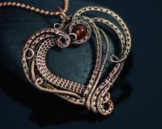 Copper wire jewelry cello wire wrapped necklace от OrioleStudio
