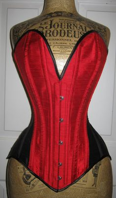 Wyte Phantom sweetheat plunge corset in red and black dupion silk