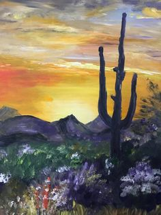 Sunset In The Arizona Desert - Landscape Bob Ross Style, Acrylic Painting on Stretched Canvas Fantasy Paintings, Fantasy Art, Wine And Paint Night, Bob Ross Paintings, Landscape Artwork, Gravel Driveway, Driveway Landscaping, Modern Landscaping, Landscaping Ideas