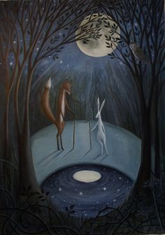 This beautiful painting is by Karen of Moonlight and Hares.  It's called 'Moonrakers' and i think it's just beautiful.    http://moonlightandhares.blogspot.co.uk/2012/05/moonrakers.html