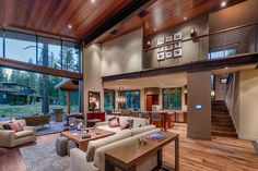 Nowhere has the notion of putting around this Martis Camp Cabin been more attractive than here, at this stunning, 3,249-square-foot cabin whose north side is a series of patios that flow together, all sharing a front row seat to the award-winning 18-hole putting course designed by Dick Bailey. Putting around within the home is equally impressive. The front door opens to a bright, airy living room anchored by a fireplace to the left, large kitchen to the right, and exposed iron beams above…
