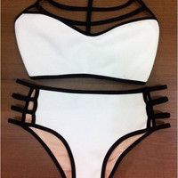 2015 New Fashion Women Summer High Waist Multi Rope Bikini Swimwear = 1955932356
