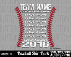 baseball svg, template, champion svg, all star svg, all star champion svg, back of shirt svg, team members svg, cut file, stitching, seams by ButtonsForBonnie on Etsy