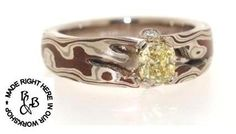 'The Blue Gum' Mokume Gane Sterling silver, white gold and Shakudo. Yellow and white diamond ring From $5,499  Designed and Handcrafted in our workshop www.randbsutherland.com.au  #mokumegane #bespoke #ladiesjewellery #ring #jewellery #randbsutherland #rogersworkshop #clarevalley