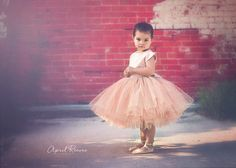 "Gold champagne blush flower girl tutu dress with big bow - ""April"" dress in champagne glitter"