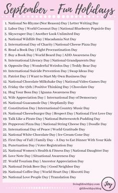 Find joy in living each day to the fullest with this list of fun national holidays and reasons to celebrate every day! Silly Holidays, Holidays And Events, Christmas Holidays, Unusual Holidays, November Holidays, List Of Holidays, Random Holidays, Monthly Celebration, Celebration Day