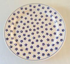 Floral Platter Wiza Pottery Poland, round serving platter, blue flower plate, vintage kitchenware, r Vintage Enamelware, Vintage Kitchenware, Vintage Dishes, Pyrex Display, Painted Ceramic Plates, Diner Decor, Cake Baking Pans, Vintage Baking, Flower Plates