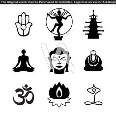 Buddha Symbols | Buddha And Lotus Symbols Of Sitting In Vector Art Tattoo Designs