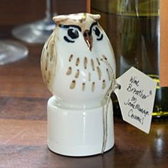 handpainted ceramic wine breather - owl by jane maddison