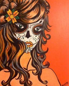 Original acrylic canvas art sugar skull  Orange by PrettyBright, £65.00