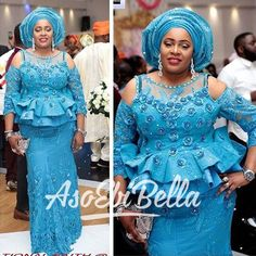 It's time for a new edition! An is a wedding guest {bella} looking stunning in aso-ebi – the fabric/colours of the day, at a trad - AsoEbi Bella. Nigerian Lace Styles, African Lace Styles, African Lace Dresses, African Dresses For Women, African Attire, African Style, African Blouses, African Design, African Wear