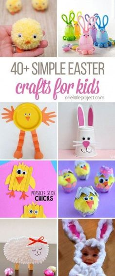 This list of simple Easter crafts for kids is absolutely adorable! From egg carton chicks to cotton ball bunnies there are tons of Easter craft ideas here!