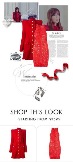 """The love of my youth is ending like this..."" by lydiarts ❤ liked on Polyvore featuring Balmain, Versace, Edie Parker and Jimmy Choo"