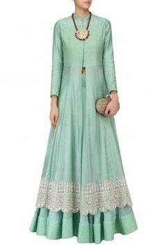 Rahul Mishra presents Mint hand woven maheshwari silk kurta and Lehenga available only at Pernia's Pop Up Shop. Pakistani Dresses, Indian Dresses, Indian Outfits, Ethnic Fashion, Colorful Fashion, Indian Fashion, Indian Attire, Indian Wear, Lehenga