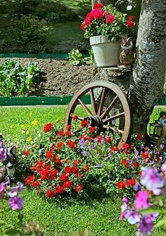 Wagon Wheel idea, maybe with geraniums. Such a peaceful look!