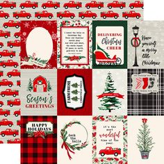 Carta Bella Paper - Christmas Market Collection - 12 x 12 Double Sided Paper - 3 x 4 Journaling Cards Plaid Christmas, Little Christmas, Christmas Cards, Christmas Patterns, Christmas 2019, Journaling, Decoupage Printables, Echo Park Paper, Christmas Scrapbook