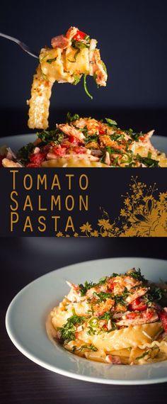 Summer Tomato and Salmon Pasta