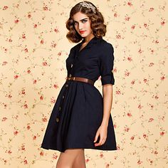 TS VINTAGE Button Down Trench Dress – USD $ 49.99