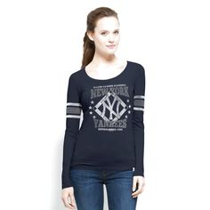 New York Yankees '47 Brand Women's Home Run Scoop Neck Long Sleeve T-Shirt - Navy Blue - $35.99