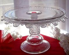 EAPG  GLASS PEDESTAL CAKE STAND PLATE . BUTTON BAND / WYANDOTTE PATTERN