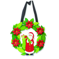 Create custom Wreath Wall Art for all occasions. Change out colorful magnets for unique year round displays. Santa and Dimensional Poinsettia Magnets from Embellish Your Story by Roeda.