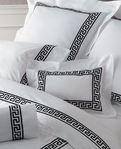 Matouk Embroidered Sheets & Bedding - Greek Key, Colors @ J Brulee Home Monogram Bedding, Greek Design, Greek Key, Design Your Home, Diy Bed, Bed Styling, Zara Home, Linen Bedding, Bed Linens