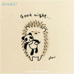 Have good sleepy time dreams. Hedgehog Drawing, Hedgehog Art, Cute Hedgehog, Cute Drawings, Animal Drawings, Drawing Sketches, Hedgehog Illustration, Cute Doodles, Art Plastique