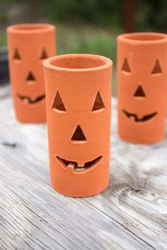 """Clay Jack-O-Lantern Set/6 Distinctive home & garden decorative accessories and accents. Dimensions:4""""""""d x 8""""""""t Usually ships within 3 Business Days Please be aware that some products are handmade and"""