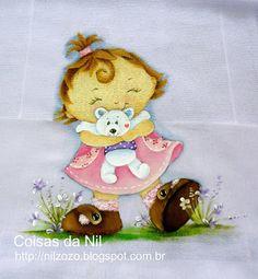pintura de menina e ursinho branco