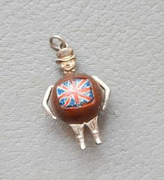 RARE WWI John Bull Touch Wood for Victory Charm British Flag Touch WUD Silver | eBay