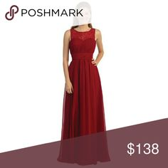 SZ XS BURGUNDY LACE STRAPS DRESS sexy evening gown Empire waist dress has a corset back and zipper on the back.  Brand: Dancing Queen   This dress is brand new from my boutique.  Tags(for visibility): prom pageants military ball formal events homecoming wedding gala quinceañera graduations sherri hill scala windsor dave Johnny davids bridal bridesmaids mother of the bride Dresses Maxi