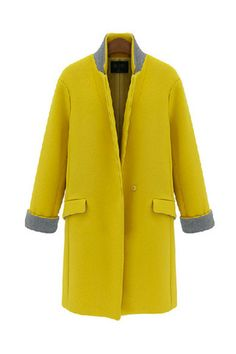 Yellow Mustard Structured Stand Collar Wool Coat
