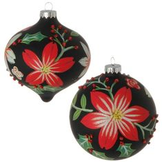 """RAZ 5"""" Floral Ball Ornaments Set of 2 Set includes one of each style Made of glass Measures 5"""" Artist: LONI HARRIS RAZ Exclusive RAZ Homespun Holiday Collection Handpainted Christmas Ornaments, Polymer Clay Christmas, Christmas Ornaments To Make, Hand Painted Ornaments, Wood Ornaments, Ball Ornaments, Christmas Projects, Christmas Tree Decorations, Christmas Trees"""