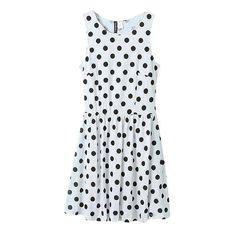 White Polka Dot Print Round Neck Gathered Waist Ruffle Hem Dress ($24) ❤ liked on Polyvore featuring dresses, spotted dress, ruffle hem dress, a line dresses, polka dot dress and flounce hem dress