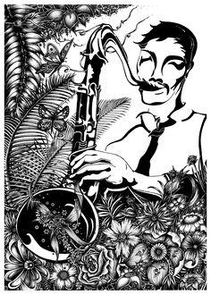"""JAZZMAN / Hand drawing"" by Joanna Panek https://www.behance.net/gallery/62837687/JAZZMAN-Hand-drawing #poster #jazz #jazzman #ink #illustration #blackink #blackandwhite #interiordesign #decor #art"