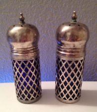 ☆WOW☆ Vintage Art Deco Cobalt Blue Glass & Silver Plate Salt & Pepper Shakers