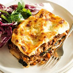 This delicious, cheesy lasagne is layered with porcini mushrooms and kale for a flavoursom