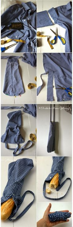 1 manche de chemise = 1 sac à pain ! Recycling, Diy Vetement, Leather Apron, Fabric Stamping, Couture Sewing, Diy Crafts To Sell, Refashion, Upcycle, Sewing Patterns