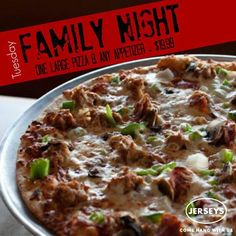 Too busy to make dinner? We have your answer! Today is our Family Night an appetizer and a large pizza for $19.99! Only at Jerseys Pizza & Grill! #KentsDeals