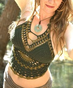 Crochet Festival Top - Vibrations Collection. Hippie Style. Bohemian. Halter Top. Hooping. Tribal. Burning Man. Gypsy. Custom. Handmade