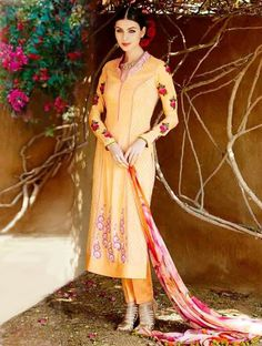 Be the center of attraction with this refreshing peach cotton and satin pant style salwar suit. This pant style salwar suit is prettified with exclusive lace border, patch border work, resham embroidery and zari work which makes it appear authentic. The blindness of these salwar suit is make a well space in all women. Discover more designs and style on www.lookbuylike.com