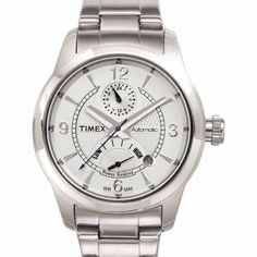 Timex Men's T2C261 Silver-Tone Automatic Stainless Steel Bracelet Watch >>> Details can be found by clicking on the image.