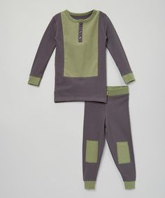 Look what I found on #zulily! Gray & Olive Color Block Pajama Set - Infant, Toddler & Kids #zulilyfinds