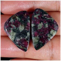 Natural Eudialyte Cabs Amazing Designer Pair Eudialyte Gemstones cabochon. Flat both side. 18x28x4 mm. 40.83 Cts by YourGemstonesShop on Etsy